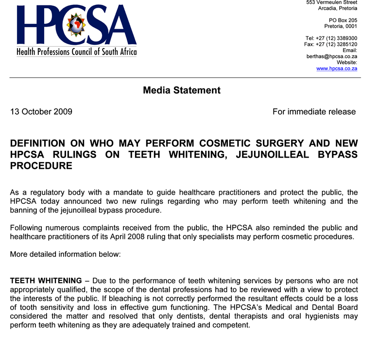 HPCSA Press Release